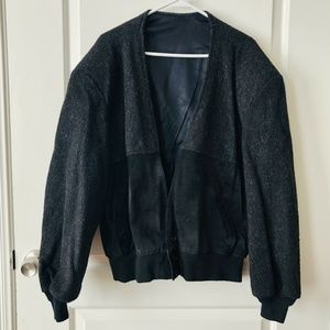 Vintage Distressed Black Wool/Leather Jacket